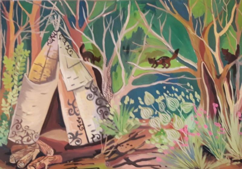«Остров сухих деревьев», фон к японской сказке «Как острова рассердились», художник Инга Арутюнян